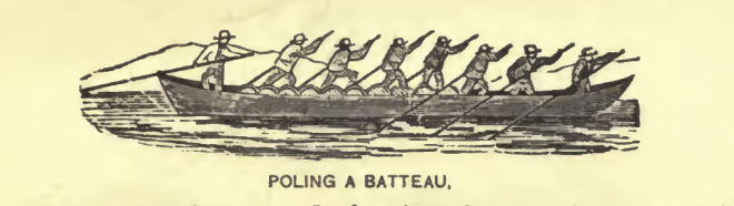 """Poling a Batteau,"" as depicted by an unknown artist, probably in the 1880s."